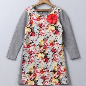 ●(3/4) Gray Floral Contrast Dress●